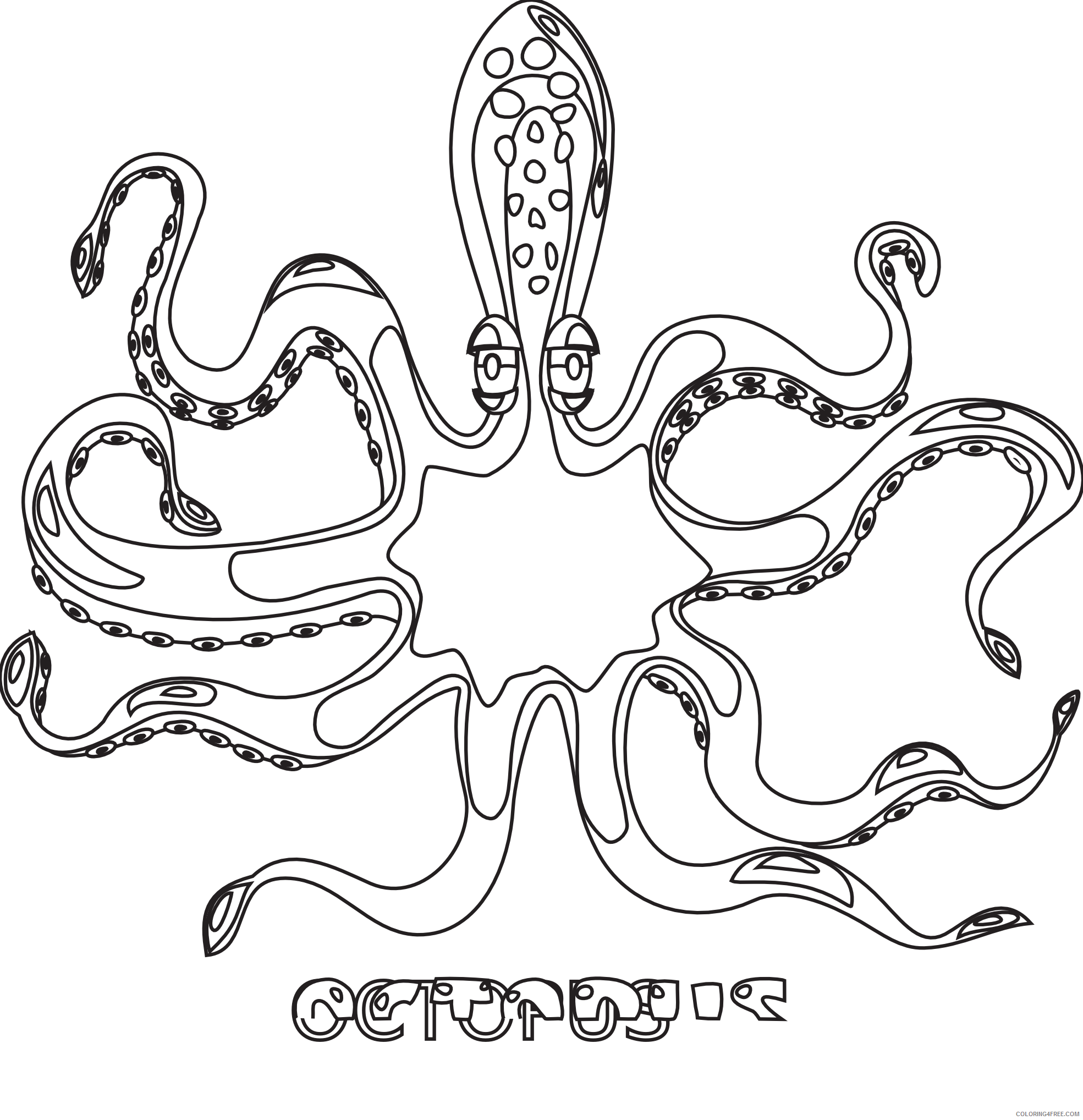 Octopus Coloring Book Coloring Pages octopus black white line art Printable Coloring4free