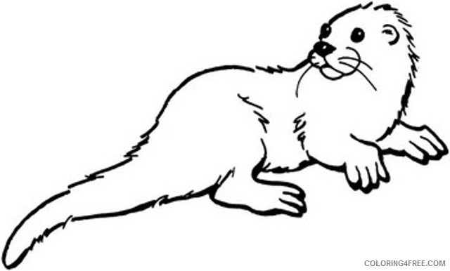 Otter Coloring Pages otter black and Printable Coloring4free
