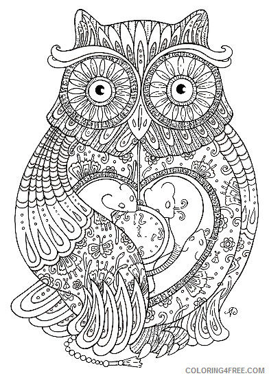 Owl Coloring Pages Coloring Pages ornate owl adult page Printable Coloring4free