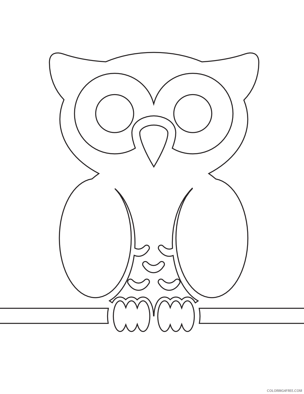 Owl Coloring Pages Coloring Pages owl on wire black white Printable Coloring4free