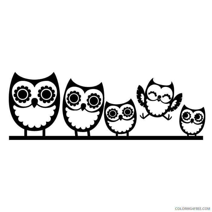 Owl Family Coloring Pages owl family wall decal cozy Printable Coloring4free