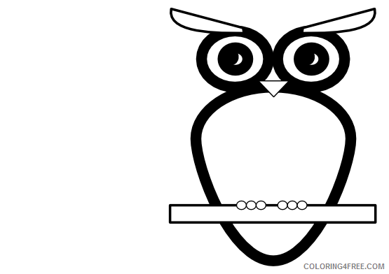 Owl Outline Coloring Pages bw owl black white line Printable Coloring4free