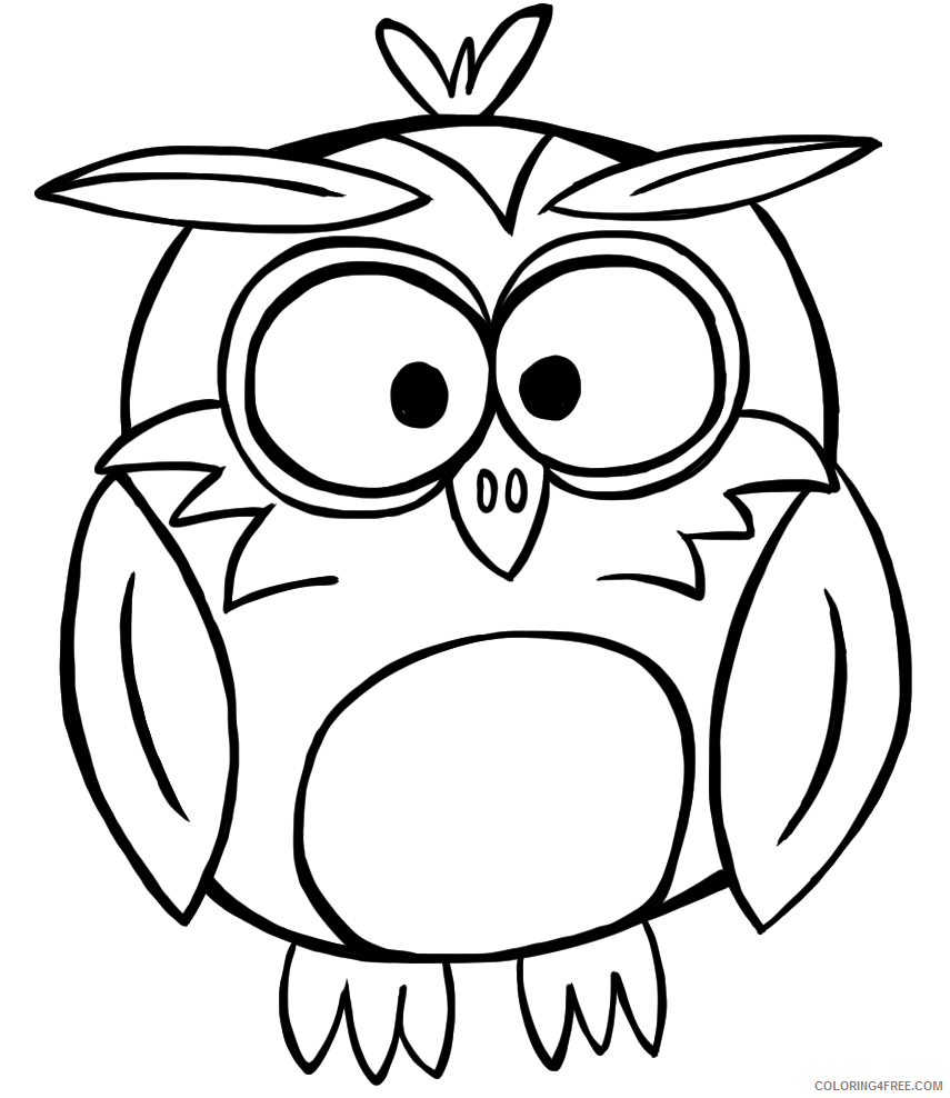 Owl Outline Coloring Pages forest mountain habitat doodles and Printable Coloring4free