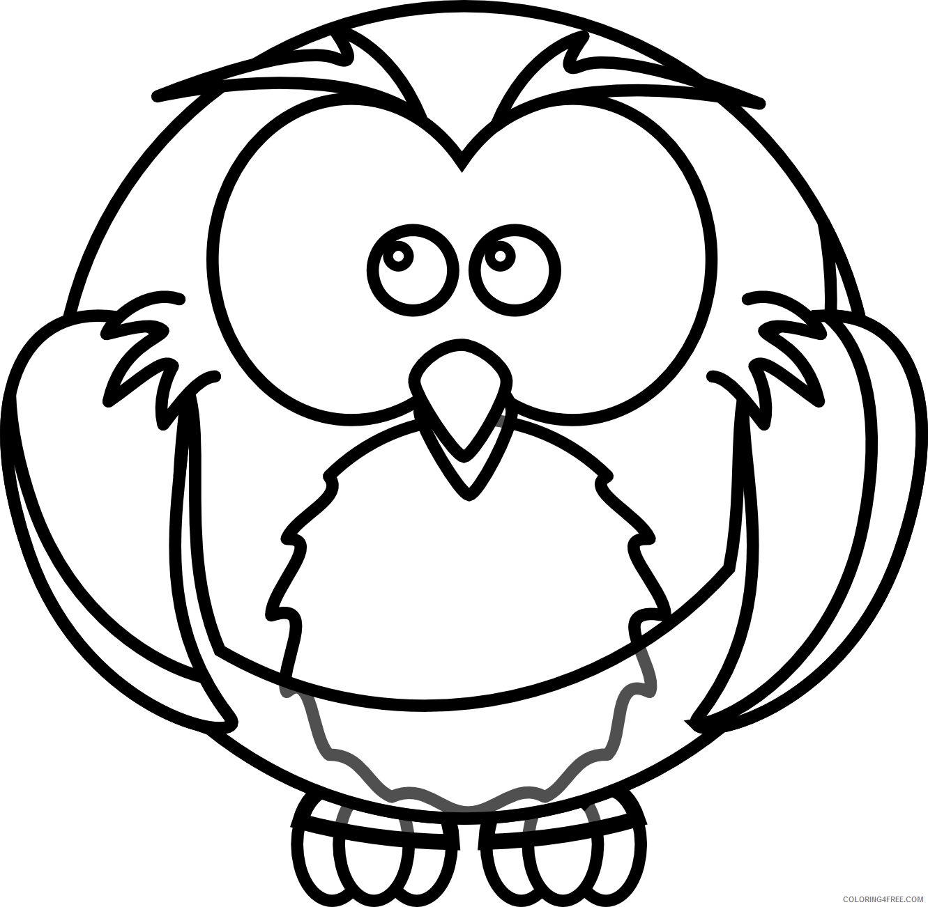 Owl Outline Coloring Pages owl black and Printable Coloring4free