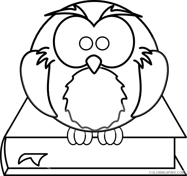 Owl on a Book Coloring Pages owl on book black and Printable Coloring4free