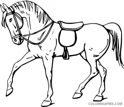 Running Horse Coloring Pages Running horse black and Printable Coloring4free
