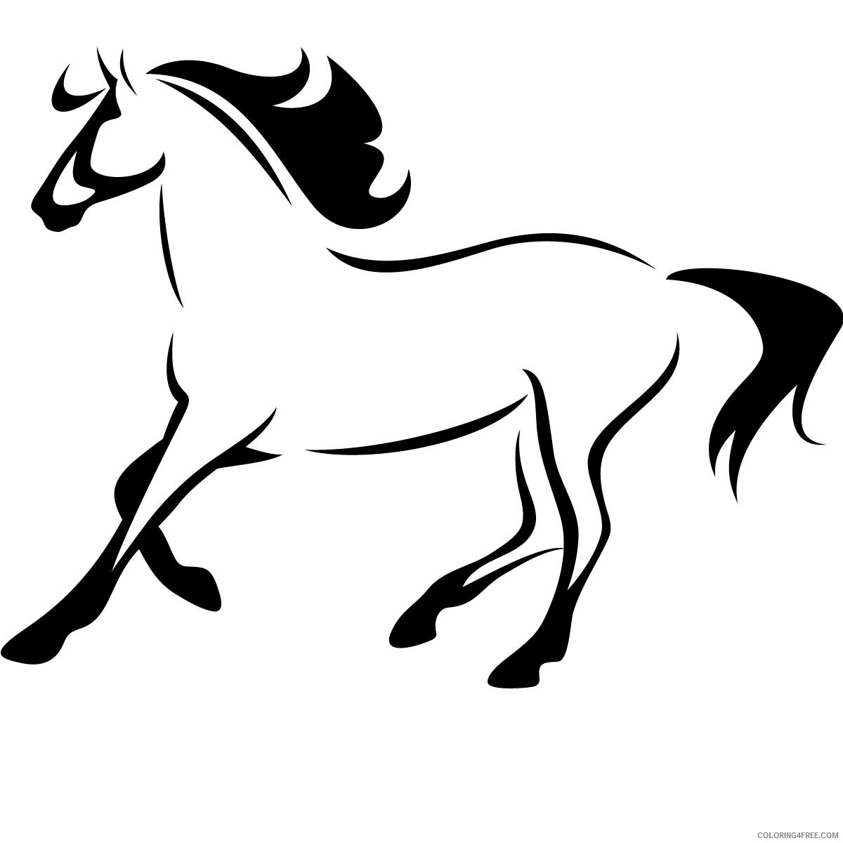 Running Horse Coloring Pages horse outline running animals wall Printable Coloring4free
