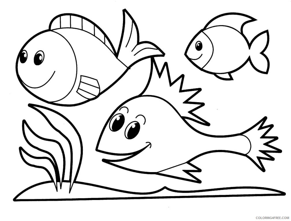 School of Fish Coloring Pages school of fish drawing Printable Coloring4free