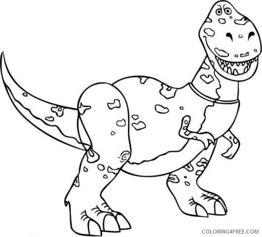T rex Coloring Pages rex dinosaur toy story 2 Printable Coloring4free
