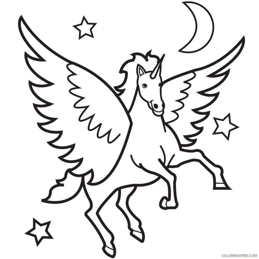 Unicorn Outline Coloring Pages 13 Winged Unicorn Pages Printable Coloring4free Coloring4free Com