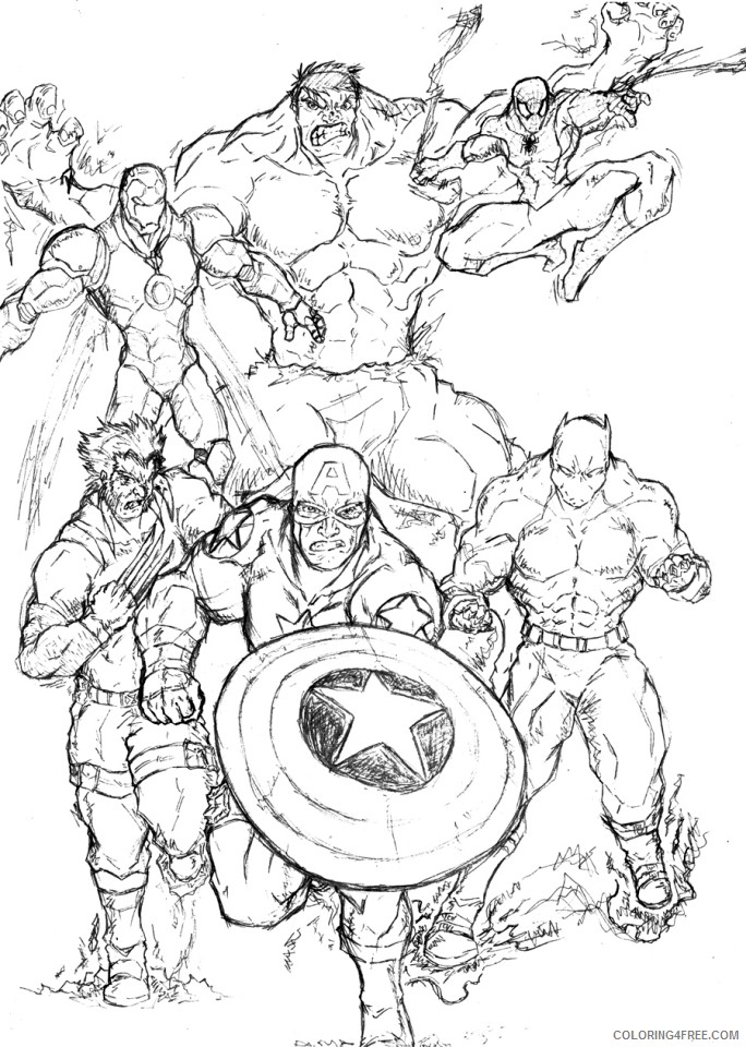 Avengers Coloring Pages Superheroes Printable Coloring4free