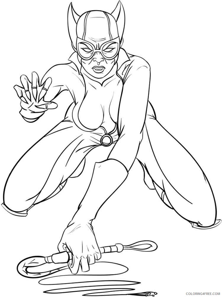 Catwoman Coloring Pages Superheroes Printable 2020 Coloring4free