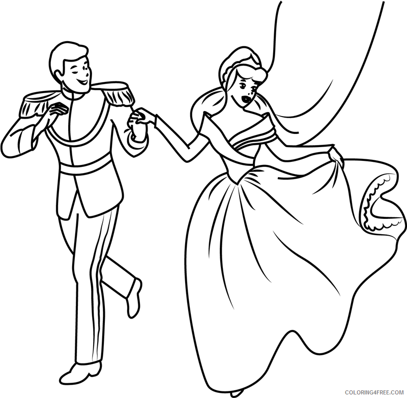 Cinderella Coloring Pages Cartoons 1532574127 Prince Charming And Cinderella A4 Printable 2020 1683 Coloring4free Coloring4free Com
