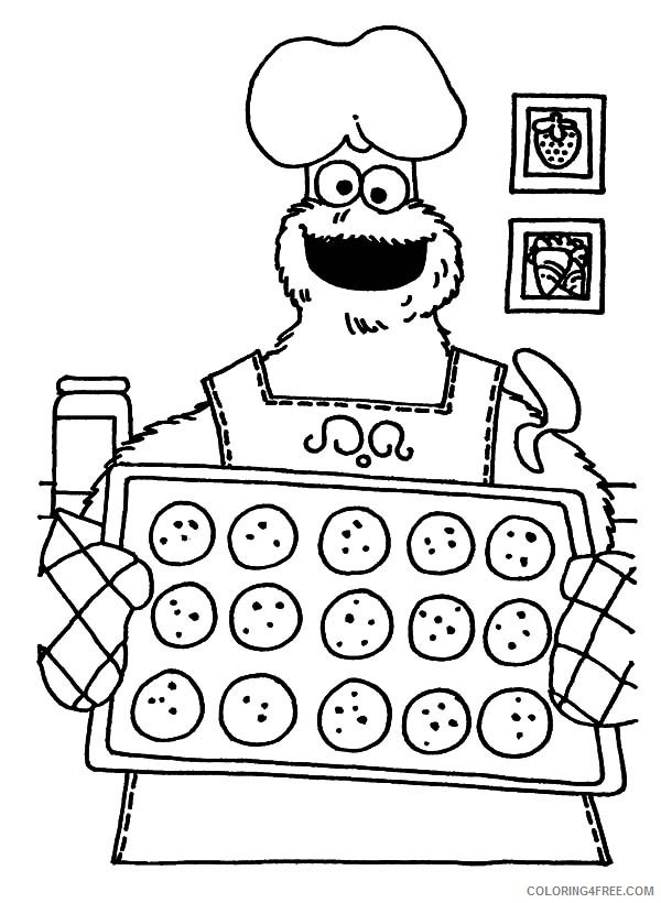 Cookie Monster Coloring Pages Cartoons Cookie Monster Baking Cookies Printable 2020 1841 Coloring4free Coloring4free Com