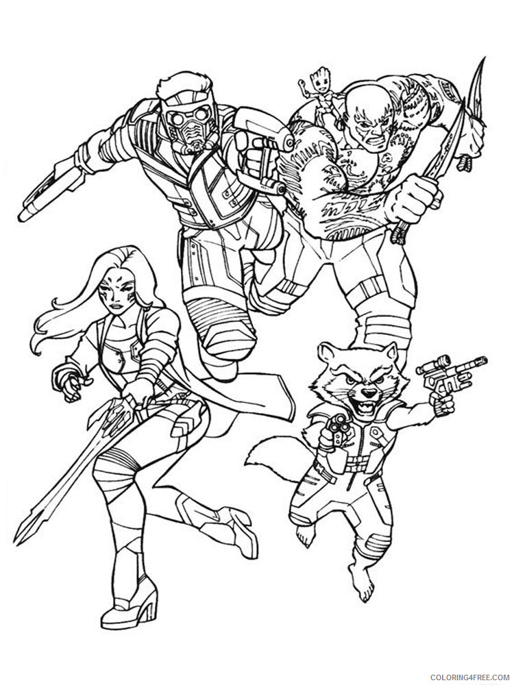 Guardians of the Galaxy Coloring Pages Superheroes Printable 2020 Coloring4free