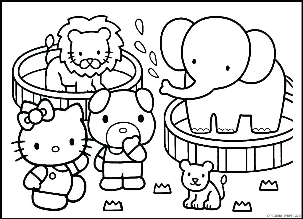 Hello Kitty Coloring Pages Cartoons Hello Kitty Zoo Animals Printable 2020  3307 Coloring4free - Coloring4Free.com