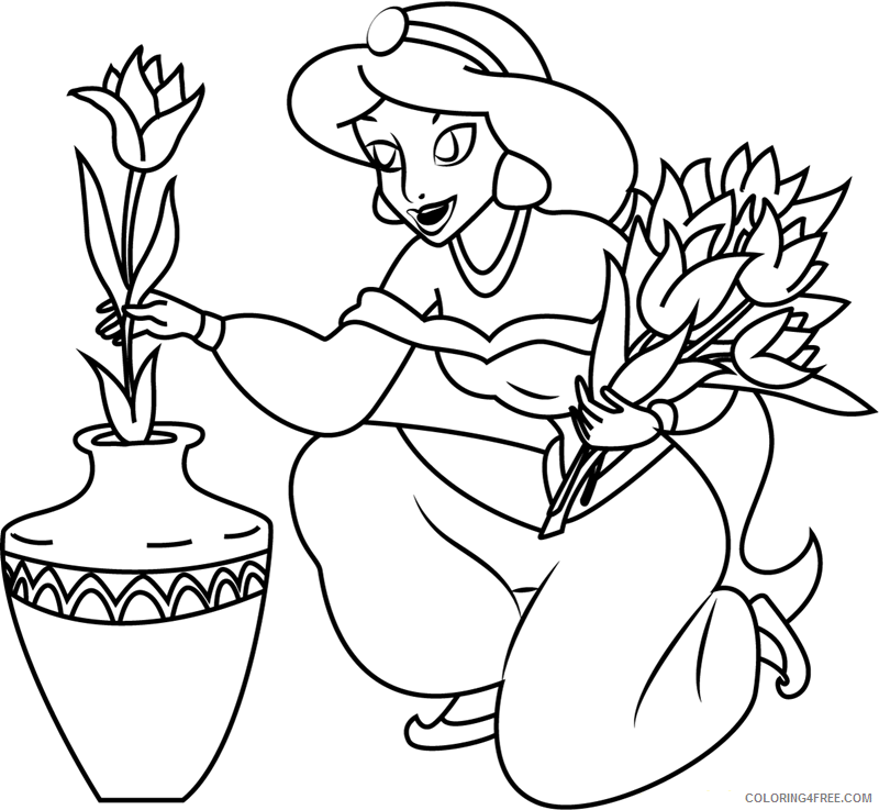 Jasmine Coloring Pages Cartoons 1532486099 Jasmine With Flowers A4 Printable 2020 3476 Coloring4free Coloring4free Com