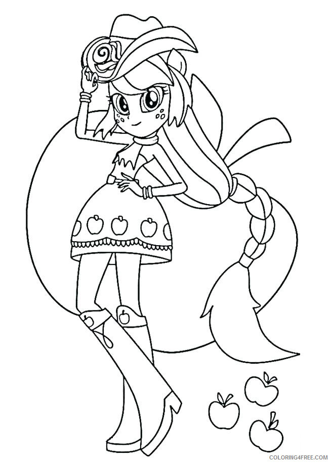 My Little Pony Equestria Girls Coloring Pages Cartoons Equestria Girl  Applejack Printable 2020 4595 Coloring4free - Coloring4Free.com
