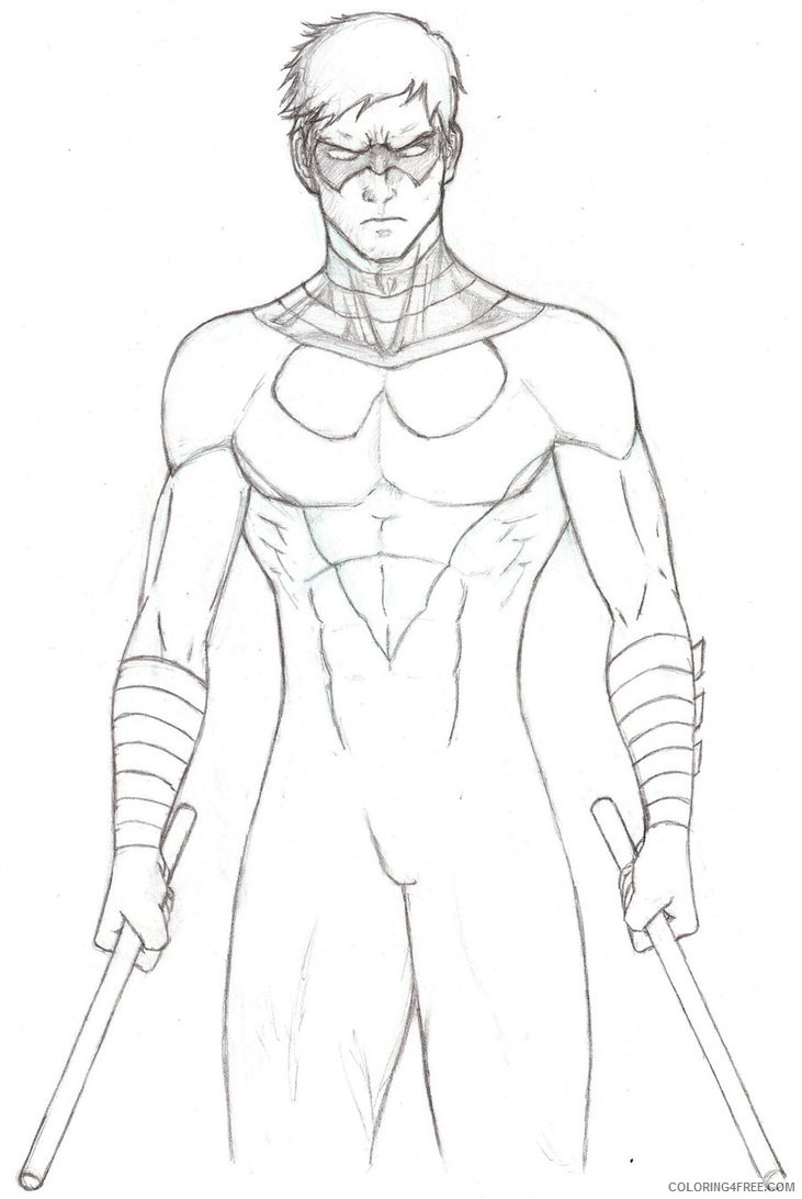 Nightwing Coloring Pages Superheroes Printable 2020 Coloring4free