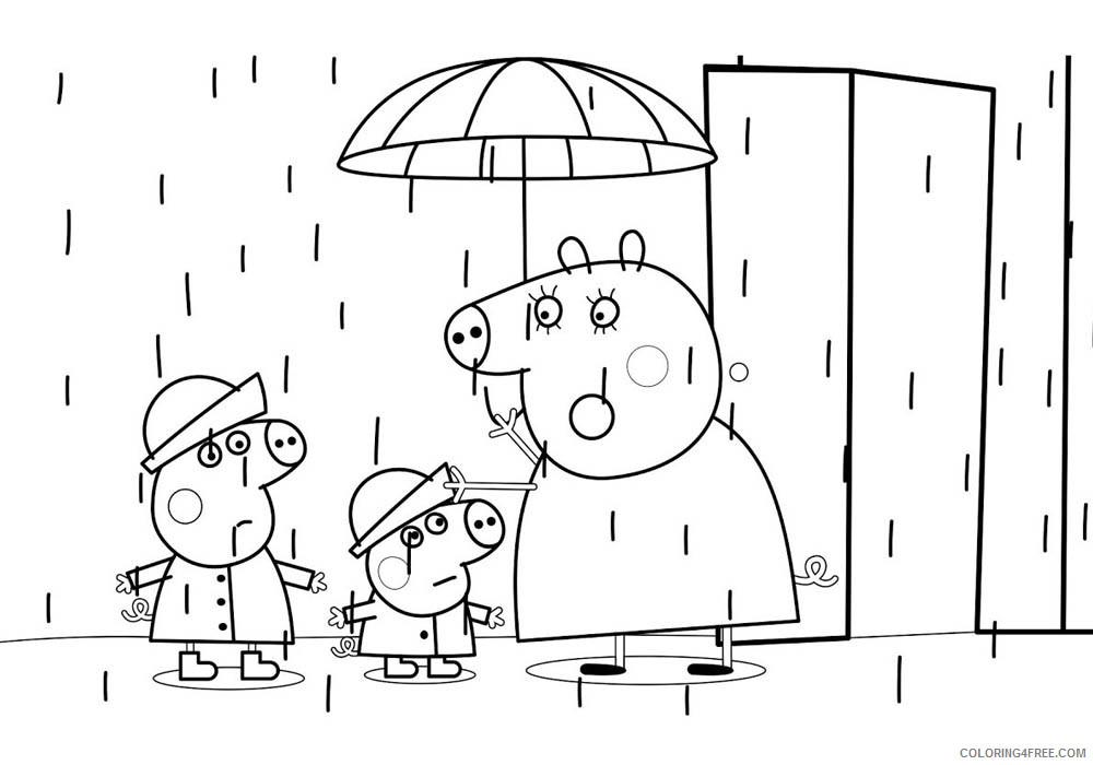 Peppa Pig Coloring Pages Cartoons Peppa Pig Rain Umbrella Printable 2020 4869 Coloring4free Coloring4free Com