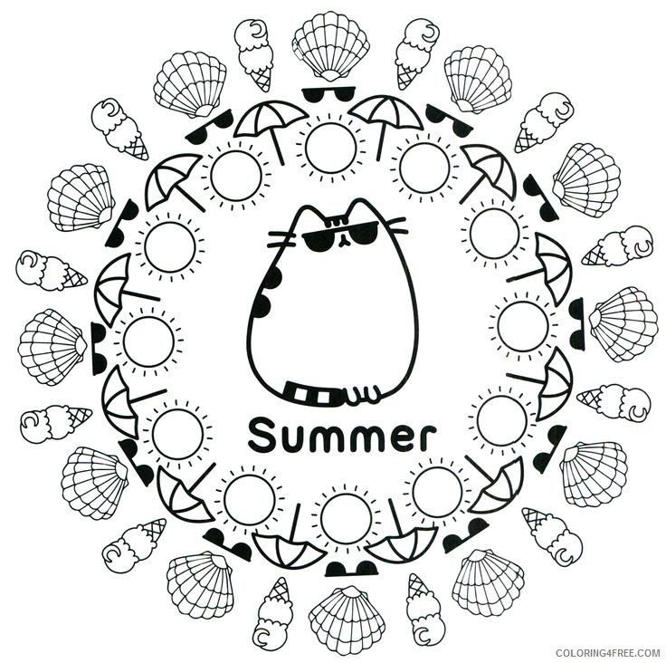 - Pusheen Coloring Pages Cartoons Summer Pusheen Mandala Printable 2020 5216  Coloring4free - Coloring4Free.com