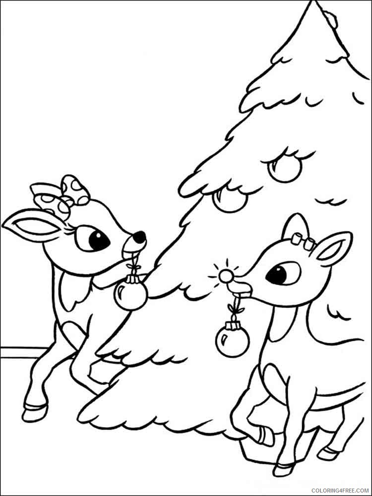 Rudolph The Red Nosed Reindeer Coloring Pages Cartoons Rudolph 12 Printable 2020 5371 Coloring4free Coloring4free Com