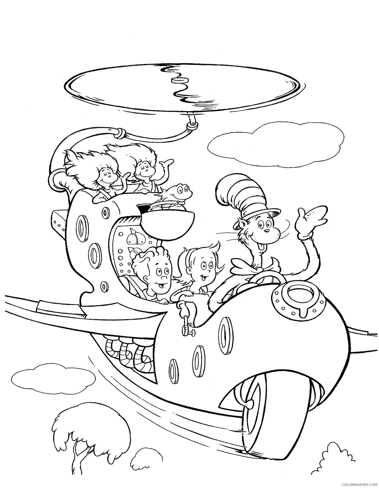The Cat In The Hat Coloring Pages Cartoons Cat Hat Cl 31 Printable 2020 6394 Coloring4free Coloring4free Com