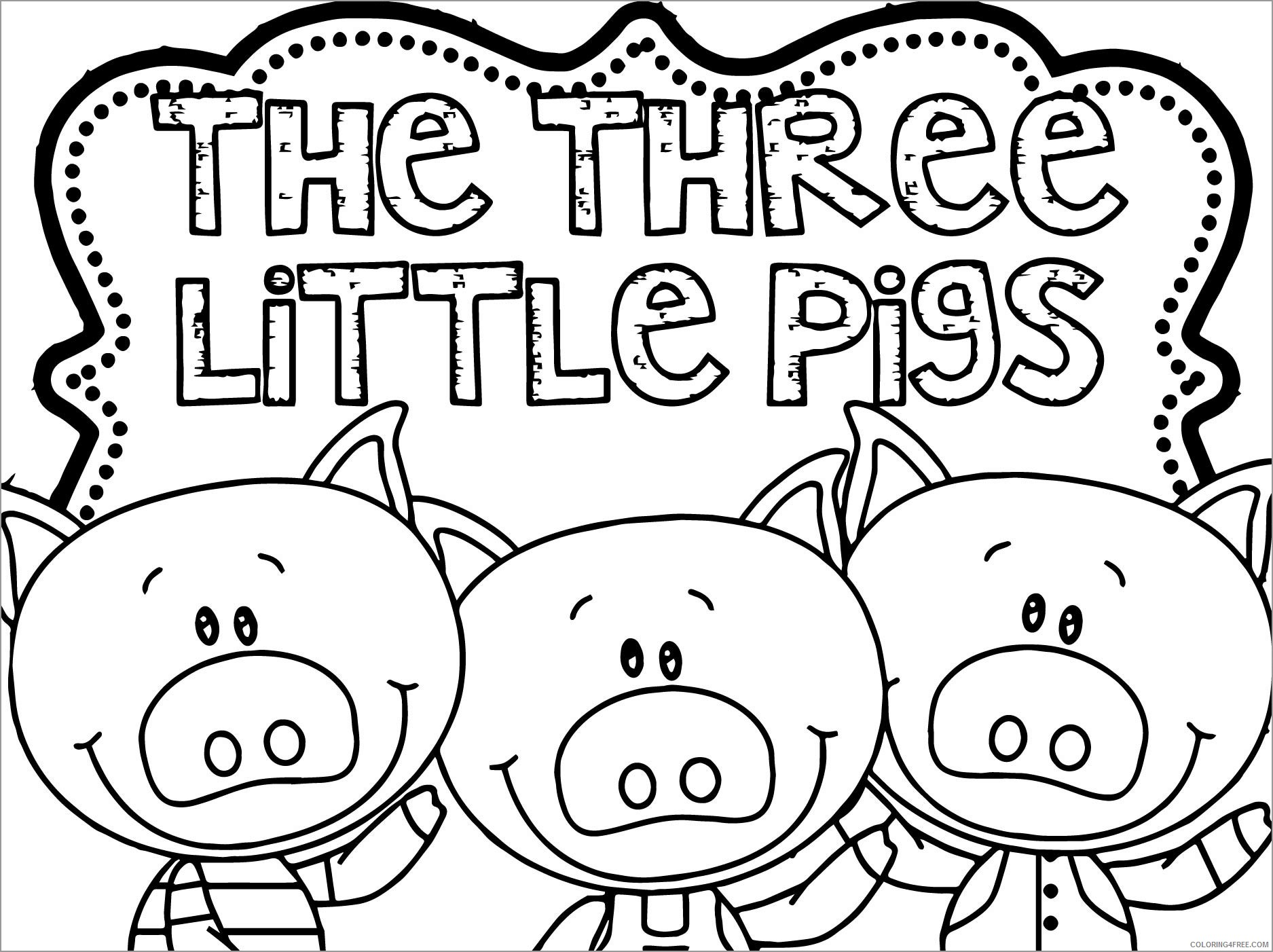 Three Little Pigs Coloring Pages Cartoons the three little pigs unsmushed  Printable 2020 6567 Coloring4free - Coloring4Free.com