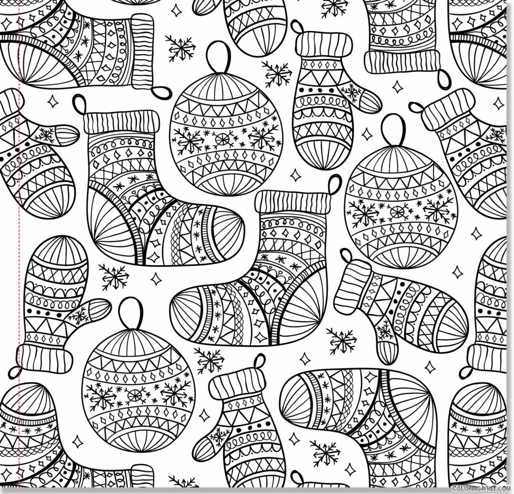 Adult Christmas Coloring Pages Mittens And Ornaments For Adults 2020 128 Coloring4free Coloring4free Com