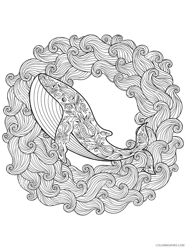 Animal Zentangle Coloring Pages Zentangle Whale 4 Printable 2020 624 Coloring4free Coloring4free Com