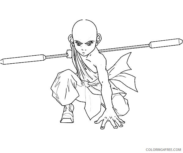 Avatar The Last Airbender Coloring Pages Tv Film Aang Is Ready To Fight Printable 2020 00345 Coloring4free Coloring4free Com
