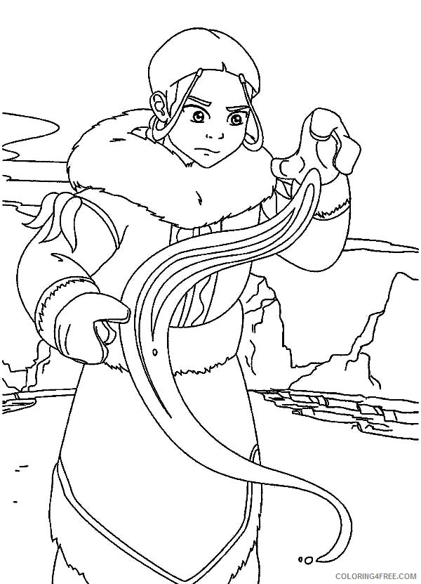 Avatar The Last Airbender Coloring Pages Tv Film Katara Learn To Bend Printable 2020 00332 Coloring4free Coloring4free Com