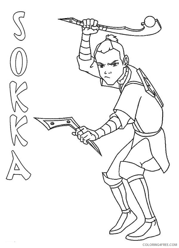 Avatar The Last Airbender Coloring Pages Tv Film Sokka Printable 2020 00338 Coloring4free Coloring4free Com