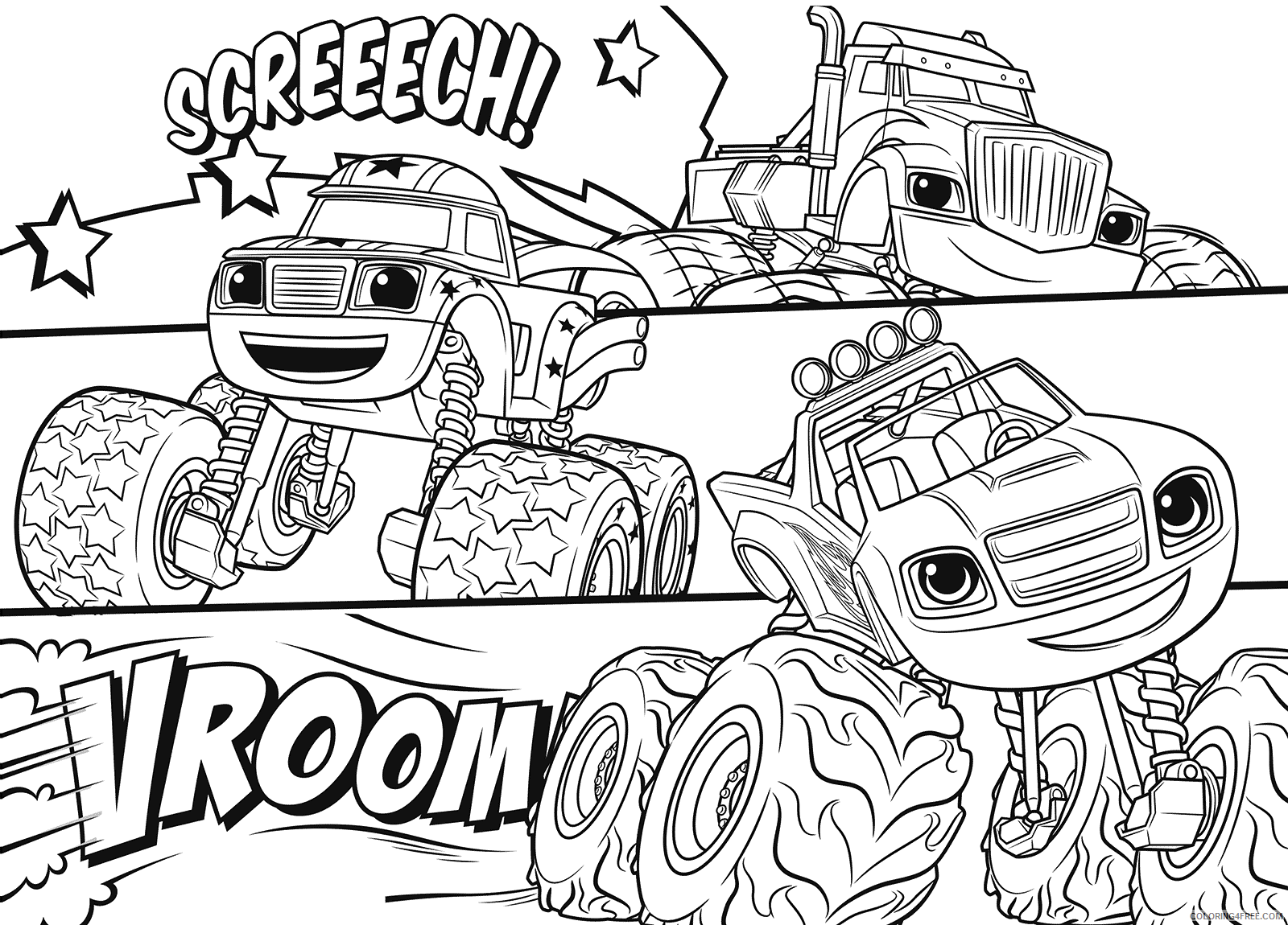 Blaze And The Monster Machines Coloring Pages Tv Film Printable 2020 00836 Coloring4free Coloring4free Com