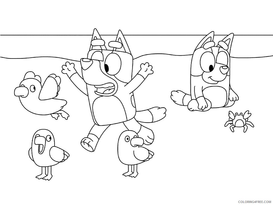 Bluey Coloring Pages TV Film bluey on the beach Printable 2020 00934 Coloring4free