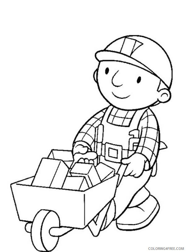 Bob the Builder Coloring Pages TV Film Carrying Brick with Trolley Printable 2020 00993 Coloring4free