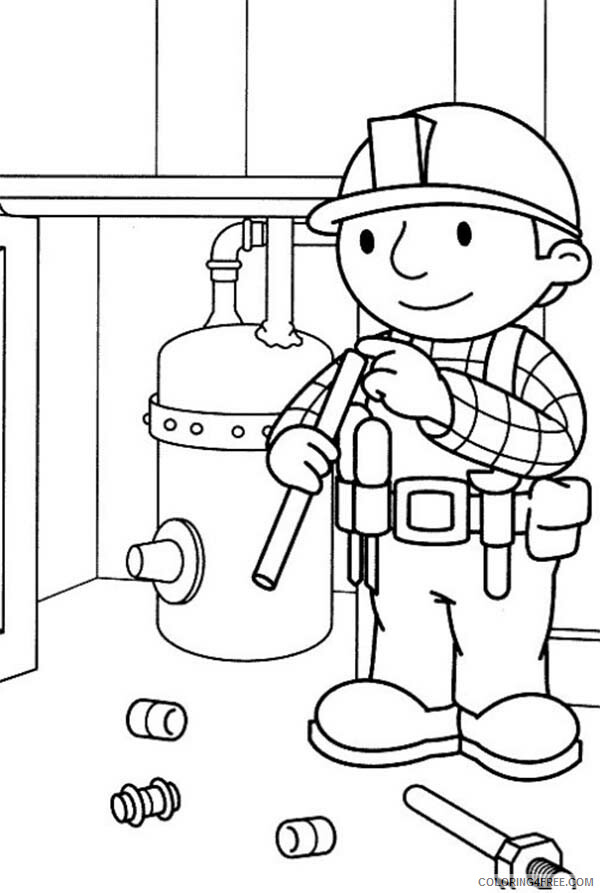 Bob the Builder Coloring Pages TV Film Fixing Gas Cylinders Printable 2020 01121 Coloring4free