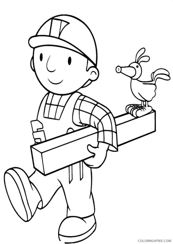 Bob the Builder Coloring Pages TV Film Holding a Wood Printable 2020 01123 Coloring4free
