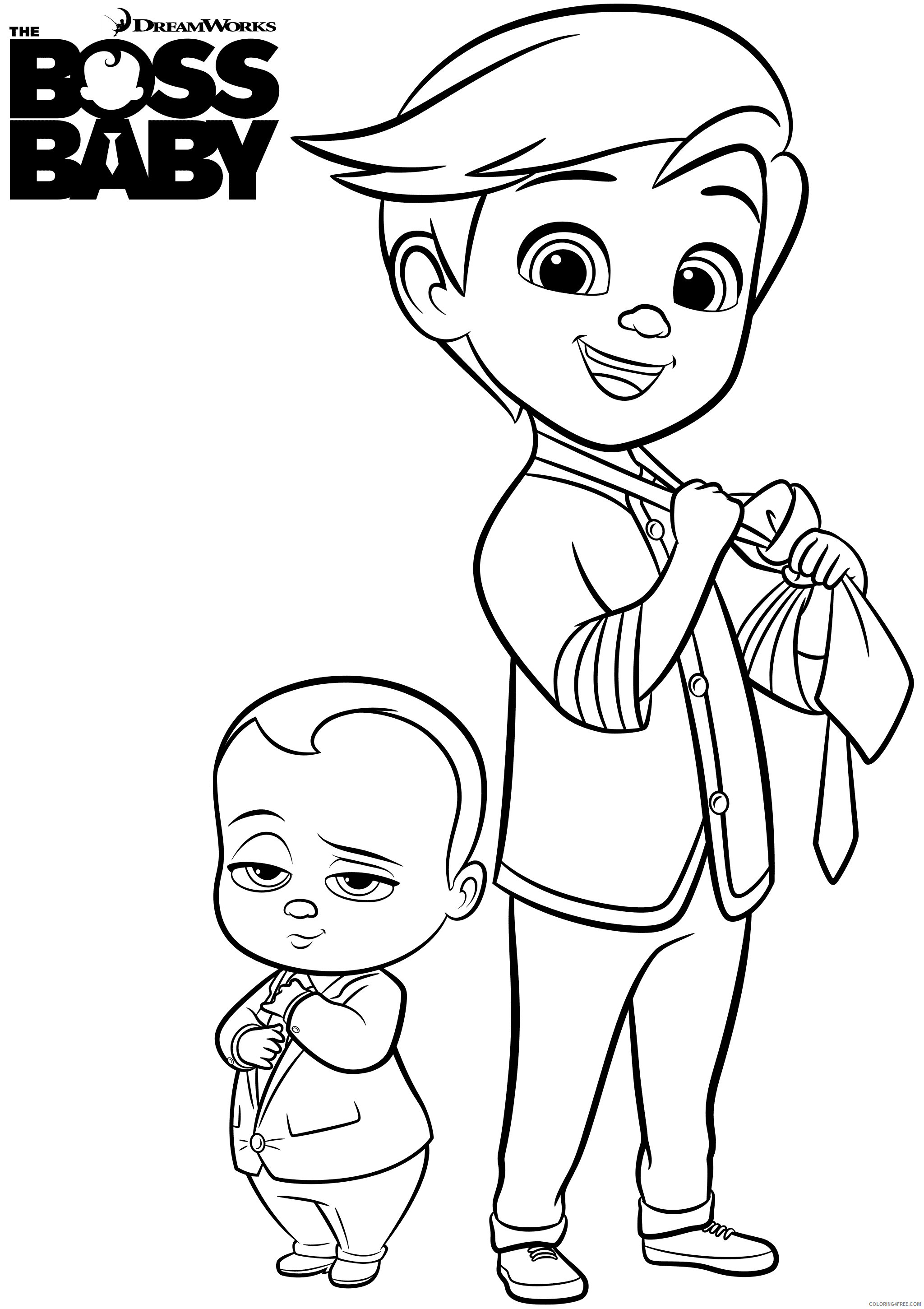 Boss Baby Coloring Pages TV Film boss baby and tim a4 Printable 2020 01249 Coloring4free
