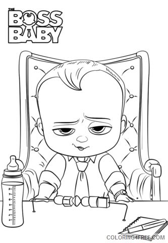 Boss Baby Coloring Pages TV Film boss baby smiling a4 Printable 2020 01251 Coloring4free