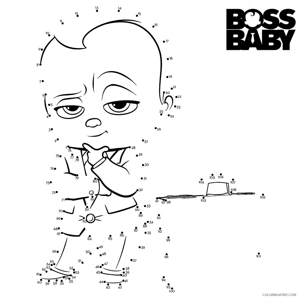 Boss Baby Coloring Pages TV Film dot to dots Printable 2020 01261 Coloring4free