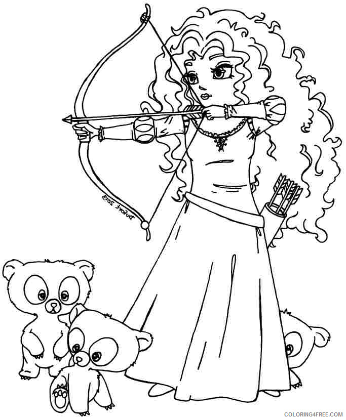Brave Coloring Pages TV Film Brave Merida and Brothers Printable 2020 01404 Coloring4free