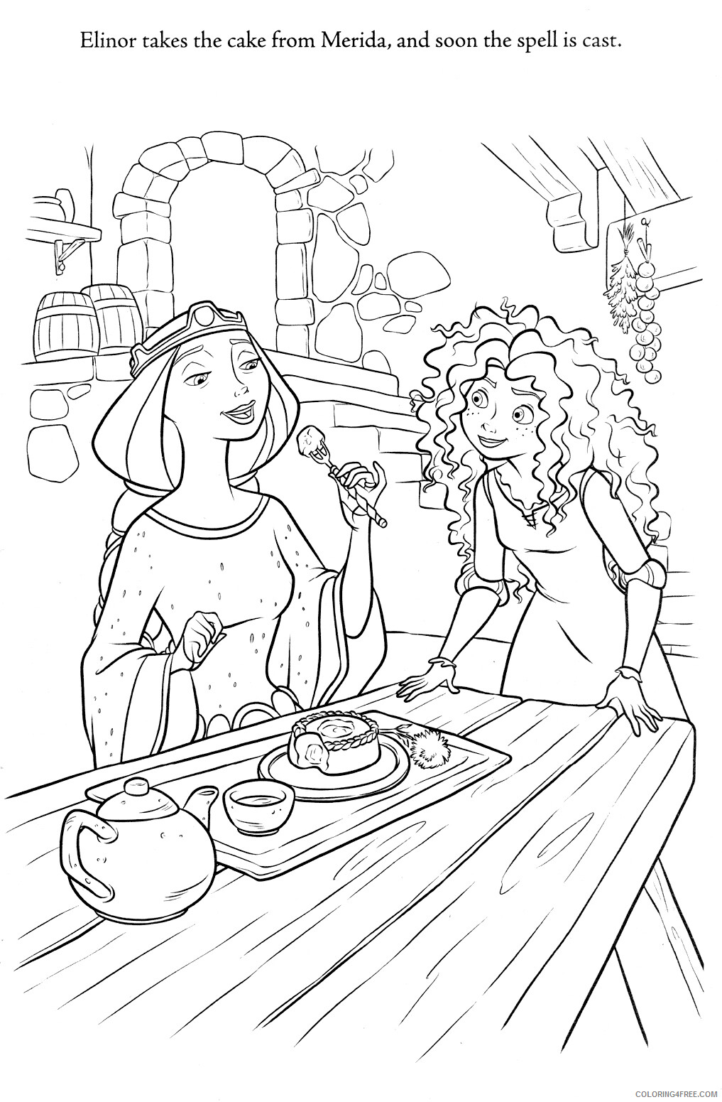 Brave Coloring Pages TV Film Brave Merida and Mom Printable 2020 01381 Coloring4free