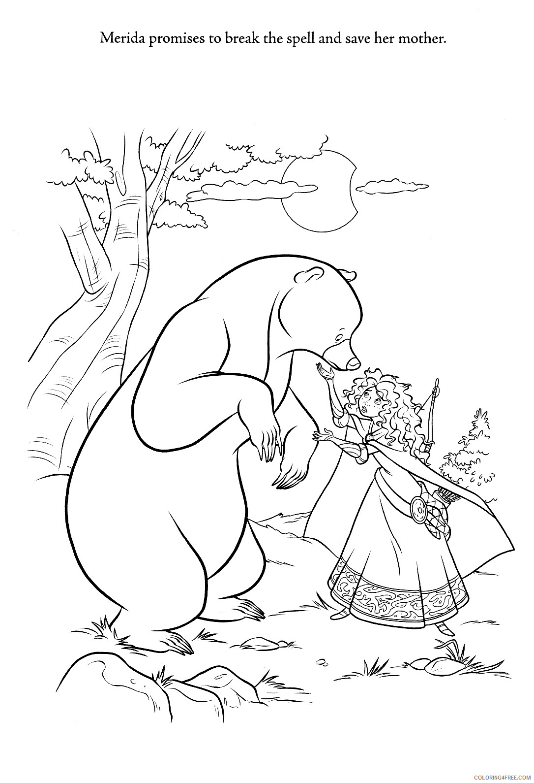 Brave Coloring Pages TV Film Brave Merida and Mother Bear Printable 2020 01405 Coloring4free