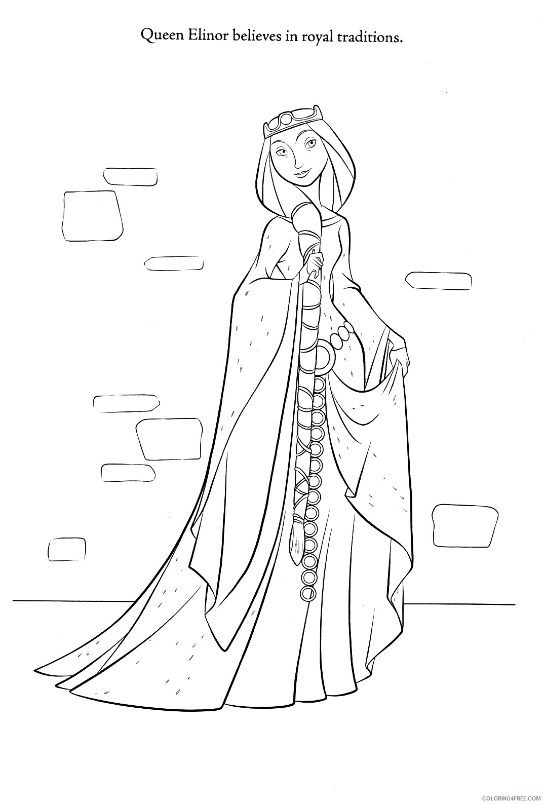 Brave Coloring Pages TV Film Brave Queen Elinor Printable 2020 01412 Coloring4free