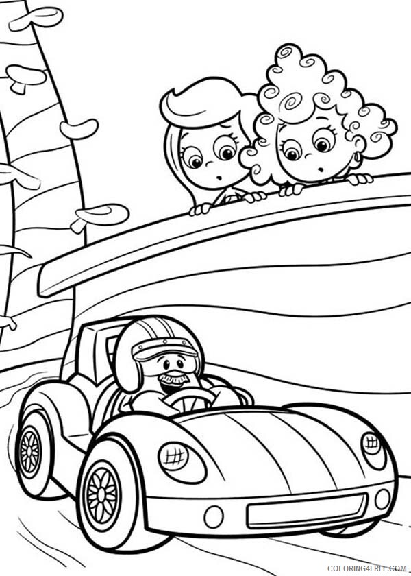 Bubble Guppies Coloring Pages TV Film Molly and Deema Watch Racing Car 2020 01684 Coloring4free
