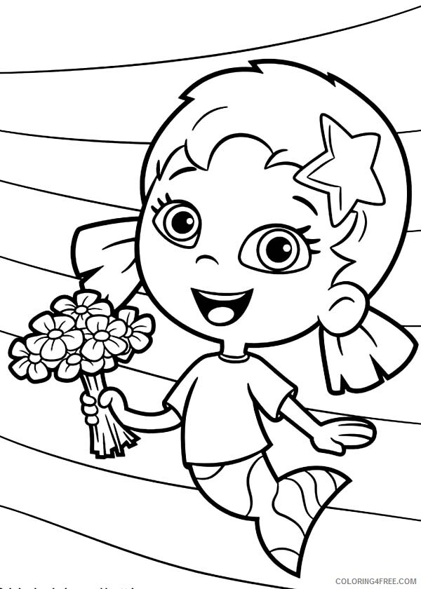 Bubble Guppies Coloring Pages TV Film Oona Holding Flower Bouquet 2020 01707 Coloring4free