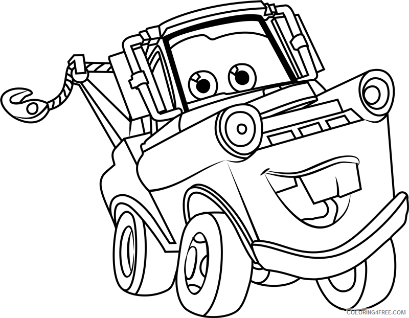 Cars Coloring Pages TV Film happy tow mater from cars 3 a4 Printable 2020 01783 Coloring4free