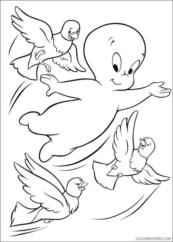 Casper Coloring Pages TV Film casper with birds Printable 2020 01991 Coloring4free