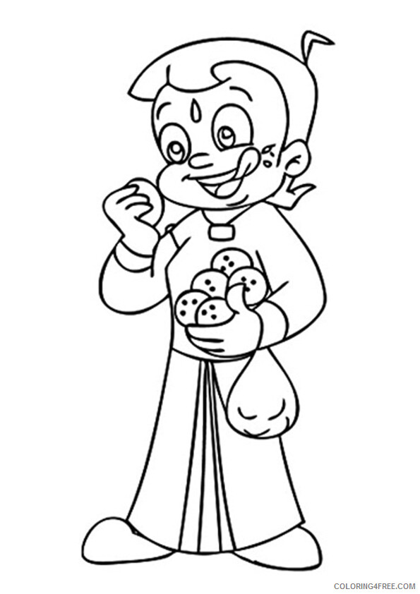 Chhota Bheem Coloring Pages TV Film bheem the ladoo lover Printable 2020 02054 Coloring4free